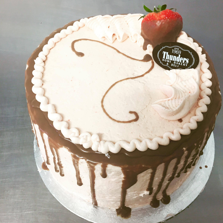White Chocolate And Strawberry Birthday Cake
